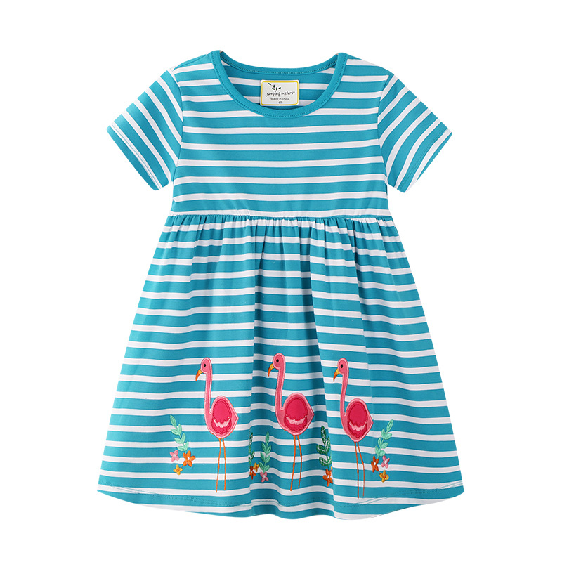 Toddler Kids Girls Print Flamingos Birds Flowers Stripes Short Sleeves Dress