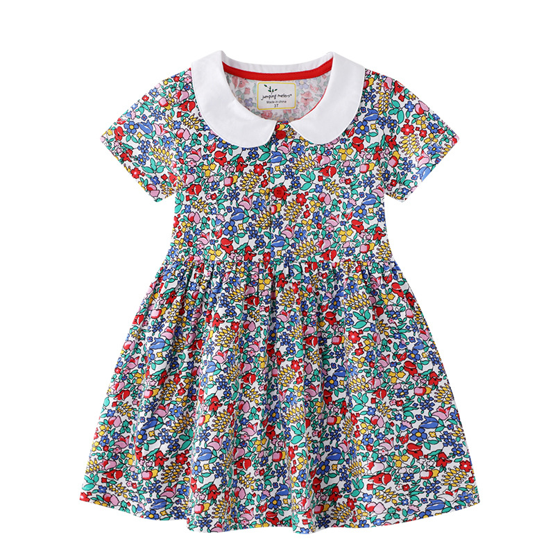 Toddler Kids Girls Print Flowers Leopard Print A-line Skater Dress