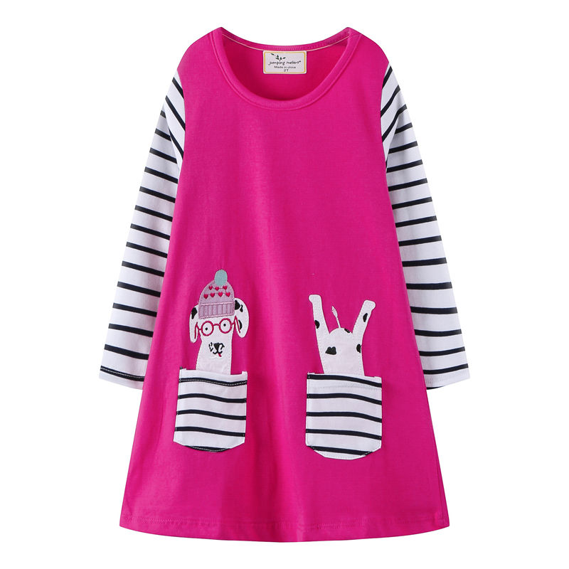Toddler Kids Girls Print Couple Stripes Pocket  Cotton Long Sleeves Dress