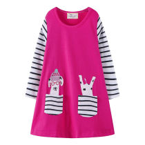 Toddler Kids Girls Print Couple Stripes Pocket  Cotton Long Sleeves Dress