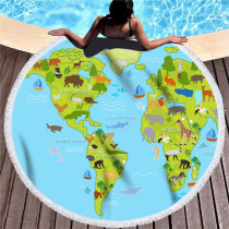 Print World Animals Map Round Tassels Cotton Beach Towel Blanket Table Cover Wall Hanging