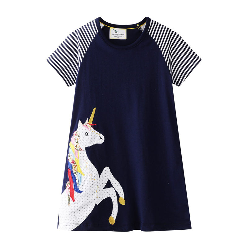 Toddler Kids Girls Print Unicorn Stripes Short Sleeves Casual Cotton Dress