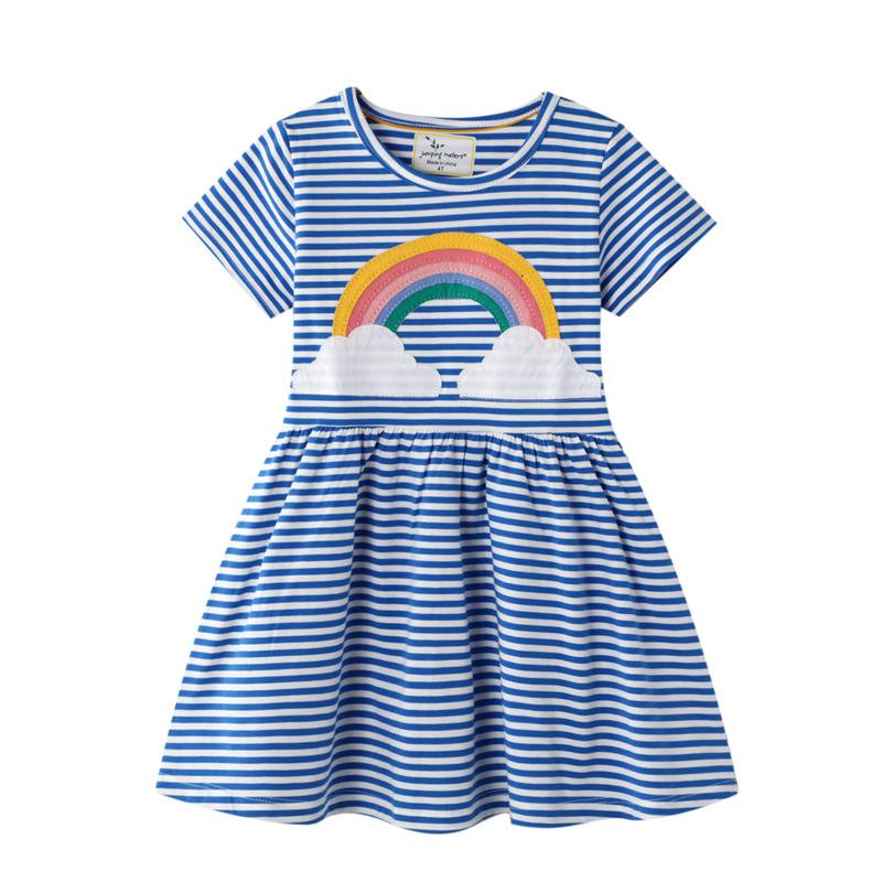 Toddler Kids Girls Stripes Print Unicorns Red Hearts Cotton A-line Dress