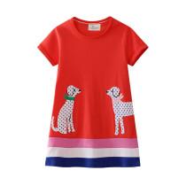 Toddler Kids Girls Print Dots Dogs Stripes Cotton T-shirt Dress