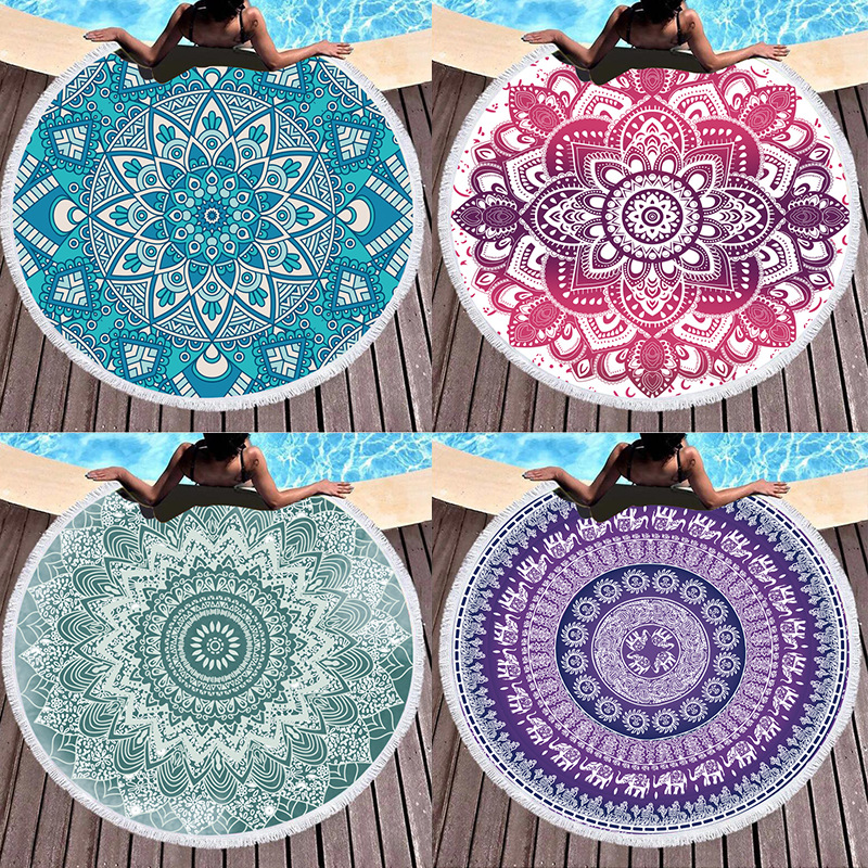 Print Mandala Lotus Flower Round Tassels Cotton Beach Towel Blanket Table Cover Wall Hanging