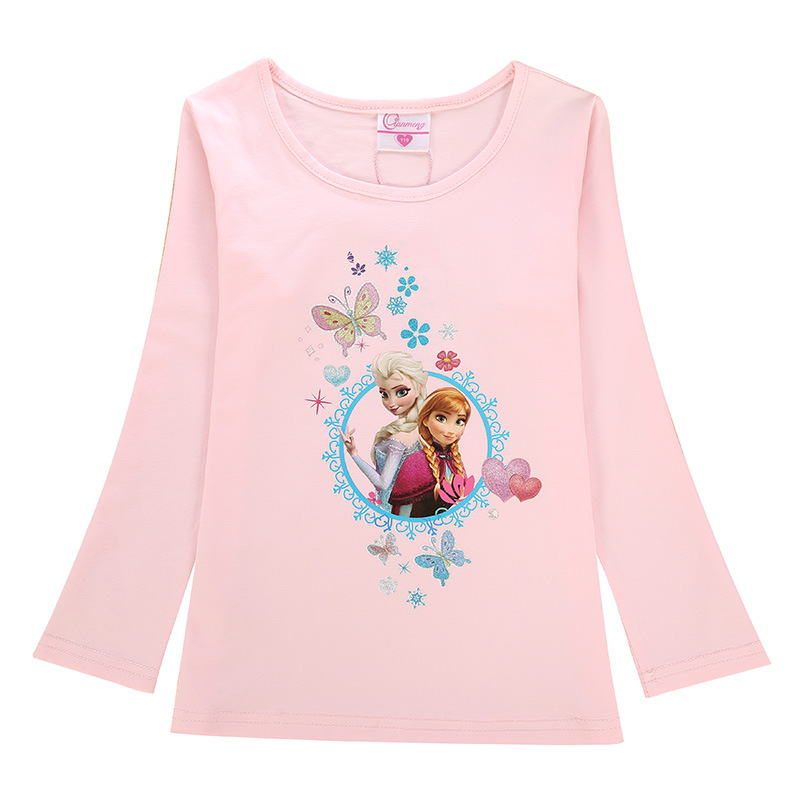 Toddler Kids Girls Print Frozen Elsa Princess Butterflies T-shirt Tee Tops