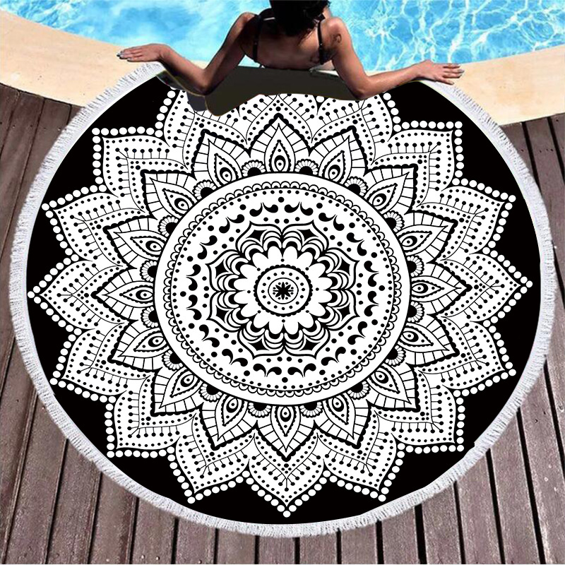 Print Mandala Lotus Black White Flower Round Tassels Cotton Beach Towel Blanket Table Cover Wall Hanging