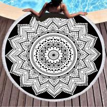 Print Mandala Lotus Black White Flower Round Tassels Cotton Beach Towel Blanket Table Cover Wall Hanging