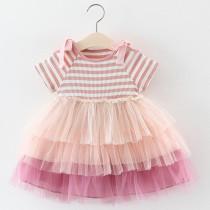 Toddler Kids Girls Cold Shoulder Tie Up Sleeveless Ombre Tutu Dress