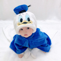 Kid White Blue Donald Duck Face Hooded Bathrobe Cape Bathrobe Cloak