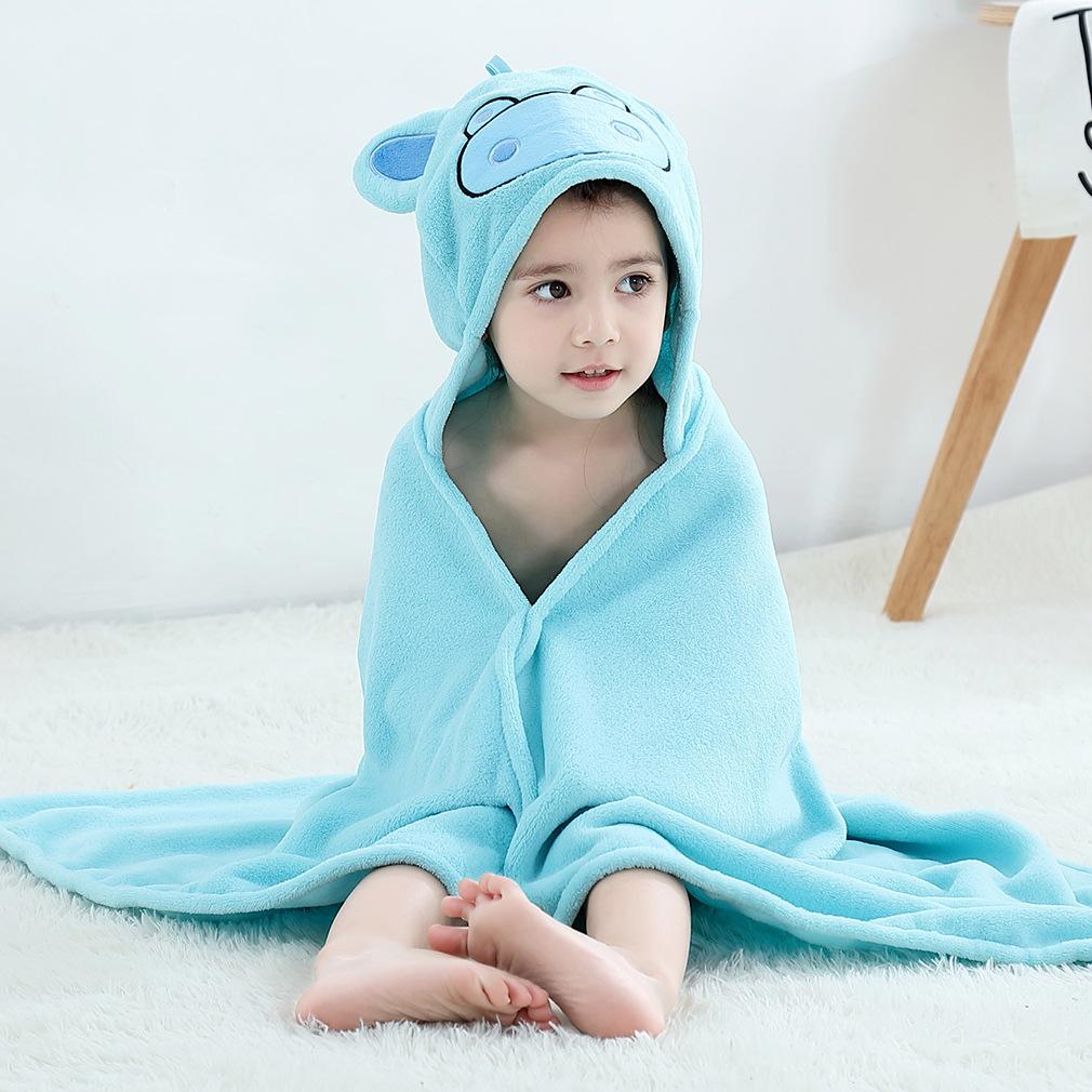 Kid Blue Hippo Hooded Bathrobe Cape Bathrobe Cloak