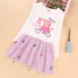 Toddler Girls Print Peppa Pig Sequins Stars Long Sleeves Tutu Dress