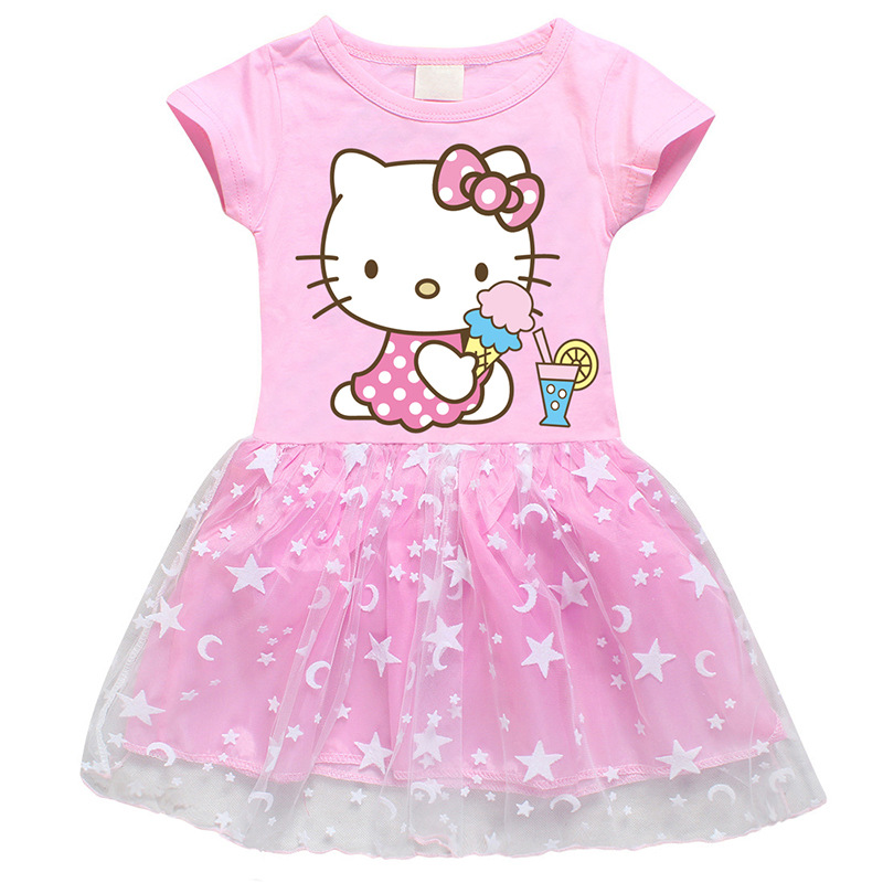 Toddler Girls Print Hello Kitty Stars Moon Tutu A-line Dress