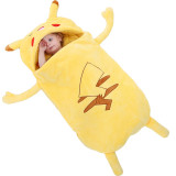 Newborn Baby Yellow Pikachu Pokemon Thicken Cotton Flannel Sleeping Bag 0-24M