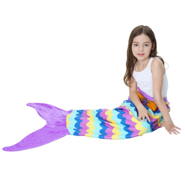 Kids Mermaid Tail Stripes Design Flannel Blanket Sleeping Bag