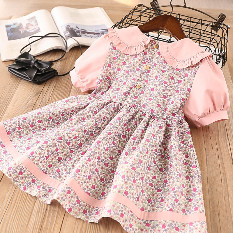 Toddler Girls Rose Flowers Ruffles Collar Skater Dress