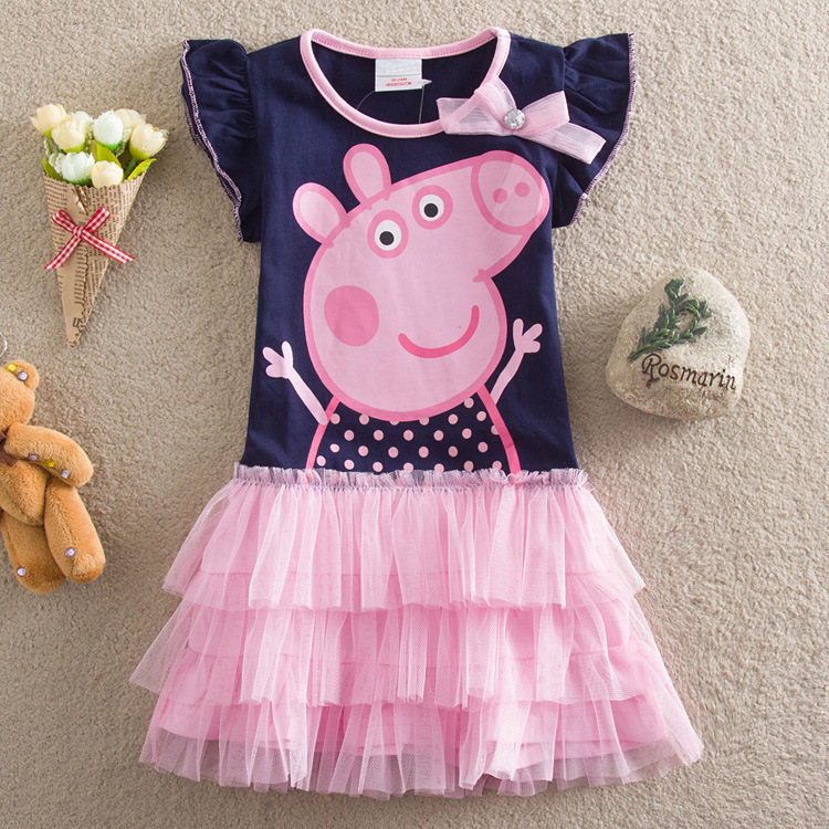 Toddler Girls Print Peppa Pig Ruffles Sleeves Tutu Dress
