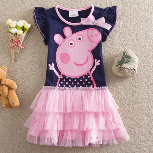 Toddler Girls Print Peppa Pig Ruffles Sleeves Tutu Dress