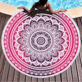 Print Mandala Lotus Flower Round Tassels Cotton Beach Towel Blanket Table Cover Wall Hanging