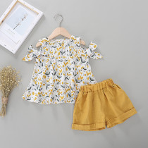 Kid Girl Print Yellow Flowers Cold Shoulder Blouse and Yellow Shorts Two Pieces Sets