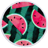 Print Fruit Watermelon Round Tassels Cotton Beach Towel Blanket Table Cover Wall Hanging