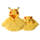 Baby Yellow Pikachu Pokemon Flannel Cloak Warm Winter Hooded Cape