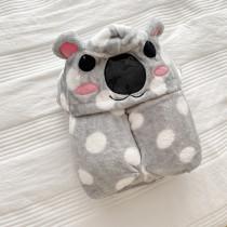 Grey Koala Woolen Fleece Blanket Hooded For Kids