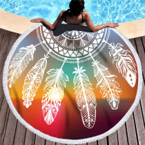 Print Rainbow Dreamcatcher Round Tassels Cotton Beach Towel Blanket Table Cover Wall Hanging