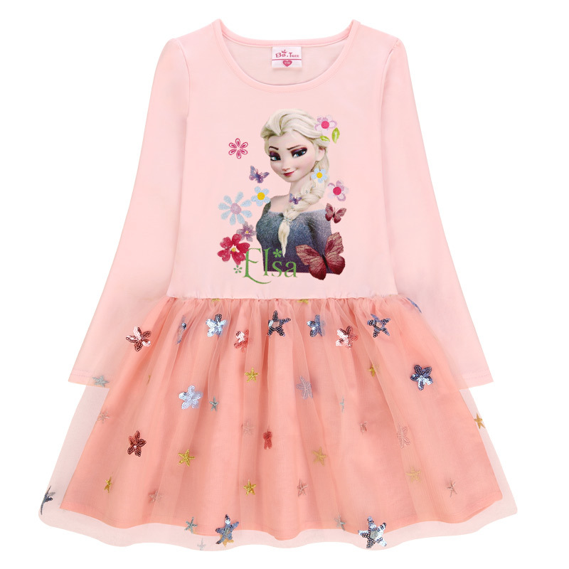 Toddler Girls Print Elsa Frozen Princess Sequins Stars Long Sleeves Tutu Dress