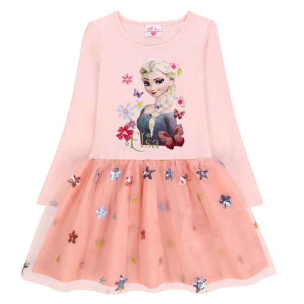 Toddler Girls Print Elsa Frozen Princess Sequins Stars Long Sleeves Tutu Dress