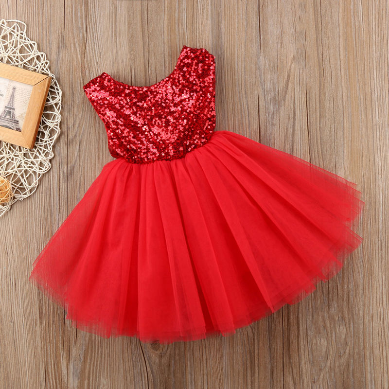 Toddler Kids Girls Sequins Heart Backless Tutu Party Dress