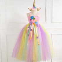 Toddler Girls Crochet Flowers Color Matching Tutu Maxi Dress