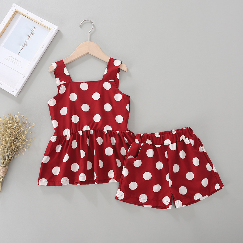 Kid Girl Print Dots Tanks Blouse and Shorts Chiffon Two Pieces Sets