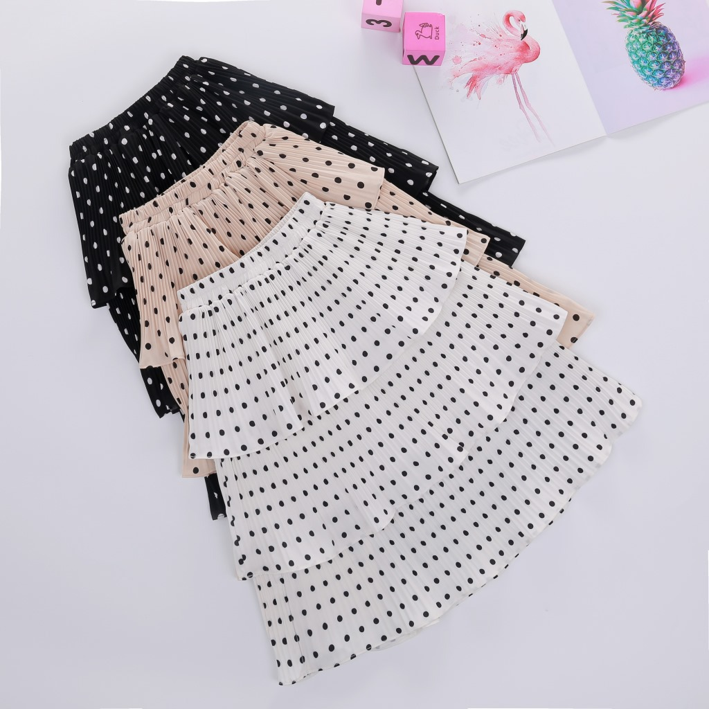 Kid Girl Multilayer Wrinkle Polka Dots Tutu Maxi Skirt