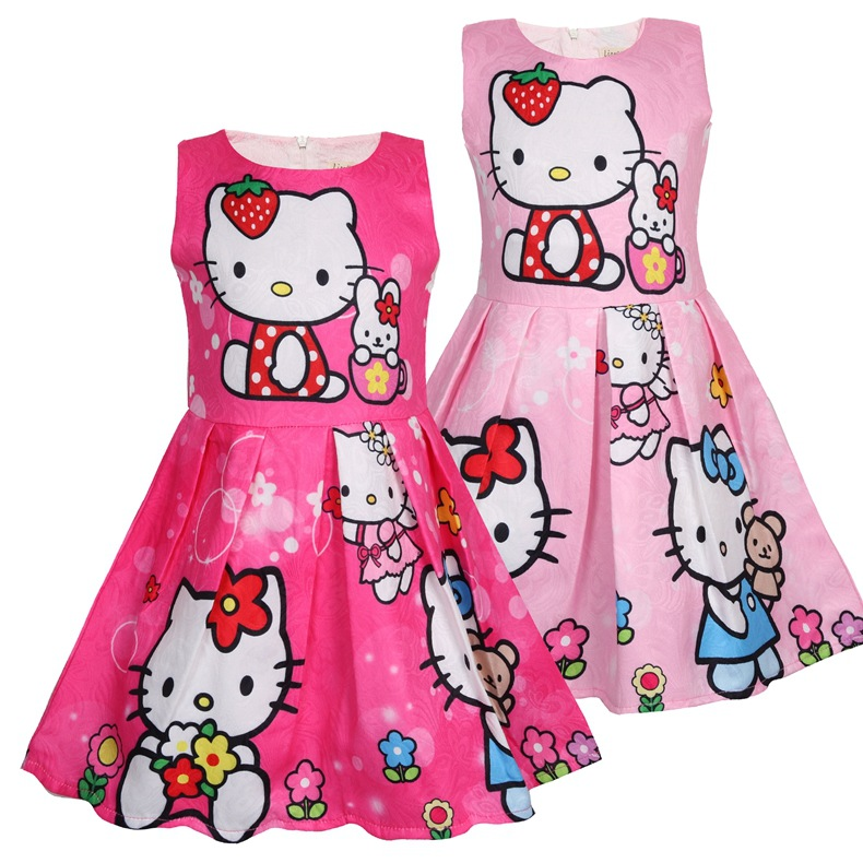 Toddler Girls Print Hello Kitty Flowers Sleeveless A-line Dress