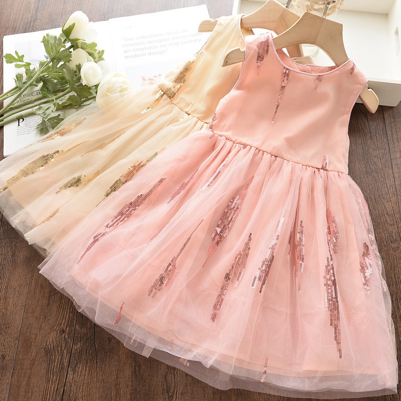 Toddler Kids Girls Sequins Sleeveless Tutu Party Dress