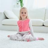 Unisex Kids Split Legs Pink Flamingo Sleeping Bag Winter Zipper Sleepwear Sleeveless Warm Pajamas