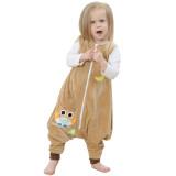 Unisex Kids Split Legs Owl Sleeping Bag Winter Zipper Sleepwear Sleeveless Warm Pajamas