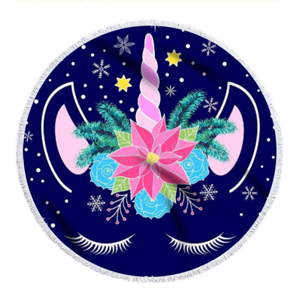 Print Unicorn Round Tassels Cotton Beach Towel Blanket Table Cover Wall Hanging