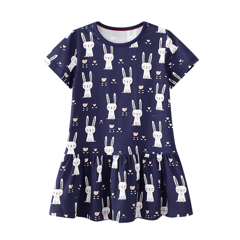 Toddler Kids Girls Print Rabbits Dots Unicorns Short Sleeves Dress