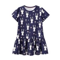 Toddler Kids Girls Print Rabbits Dots Unicorns Short Sleeves Dress