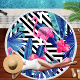 Print Flamingos Tropical Palm Leaves Stripes Round Tassels Cotton Beach Towel Blanket Table Cover Wall Hanging