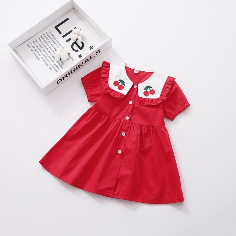 Toddler Girls Red Cherries Ruffles Collar Skater Dress