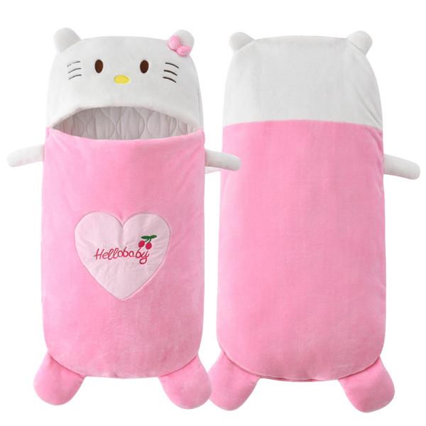 Newborn Baby Green Hello Kitty Cat Thicken Cotton Flannel Sleeping Bag 0-24M
