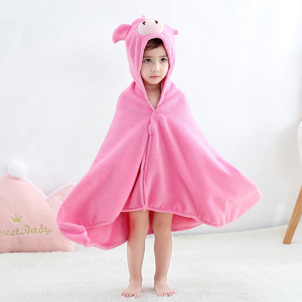 Kid Pink Pig Hooded Bathrobe Cape Bathrobe Cloak