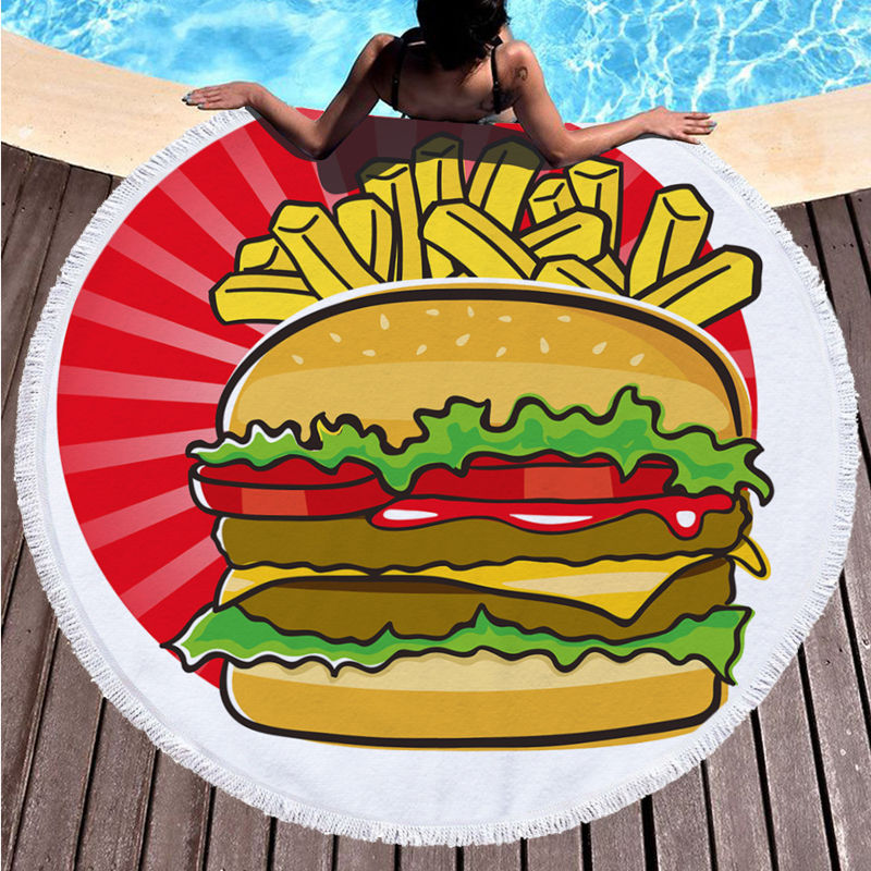 Print Hamburger French Fries Round Tassels Cotton Beach Towel Blanket Table Cover Wall Hanging