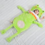 Newborn Baby Green Frog Prince Thicken Cotton Flannel Sleeping Bag 0-24M