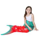 Kids Mermaid Tail Snowflakes Design Flannel Blanket Sleeping Bag