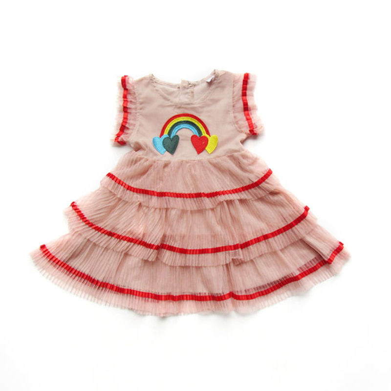 Toddler Girls Rainbow Hearts Layers Wrinkle Tutu Dress