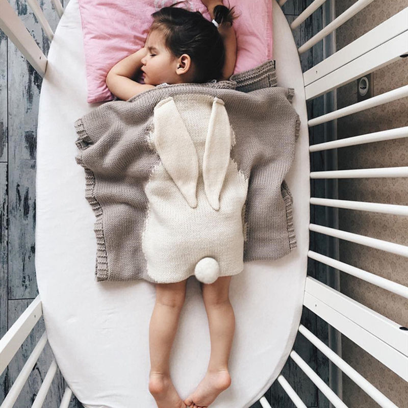 Print Knit Rabbit Sleeping Blanket